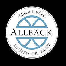 Allbäck Logo. Linoljefärg. Linseed oil paint.